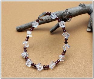 石榴石白水晶手鏈白水晶赫拉迪克方塊手鏈時尚女款手鏈