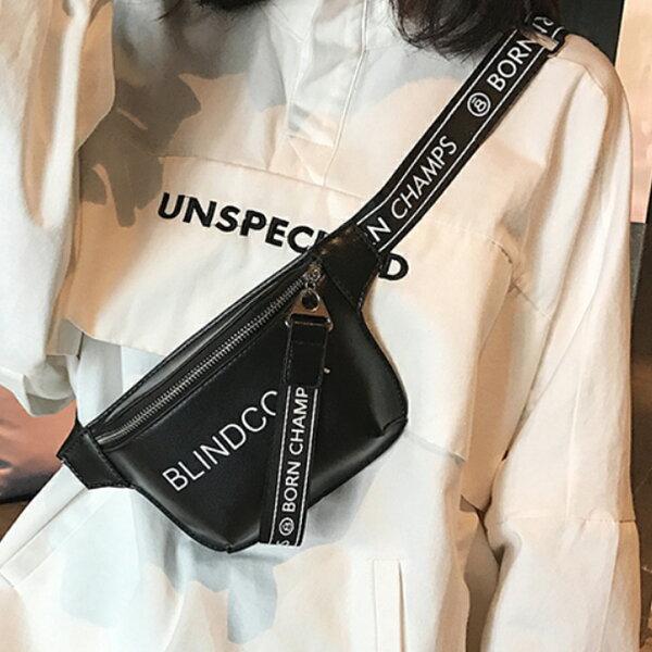 韓版字母寬肩帶小胸包側背包背包腰包