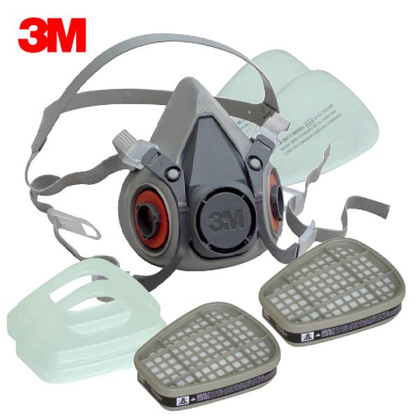 3M6200防毒口罩、面具(全配7件組)半罩式,雙罐式,內容有:6200面罩主體x1、6001濾毒罐x2、5N11濾棉x2、501濾蓋x2