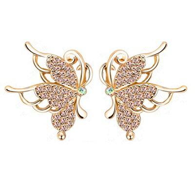 ~玫瑰金耳環 鑲鑽純銀耳飾~蝴蝶 精緻唯美七夕情人節生日 女飾品73bj5~ ~~米蘭 ~