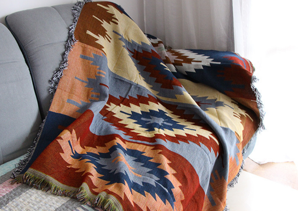 BohoChic墨西哥菱形幾何流蘇沙發萬用毯