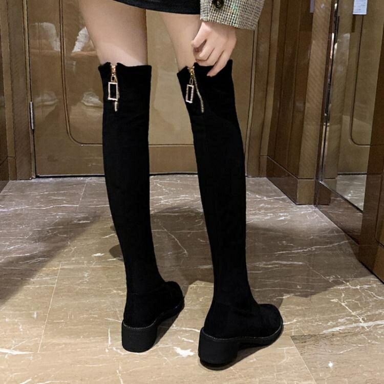 秋季鞋子女百搭高筒靴2020新款英倫風長筒靴網紅超火粗跟過膝靴子 清涼一夏钜惠
