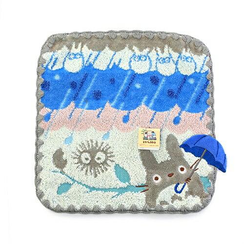 【真愛日本】﹞16031800012 小方巾-灰龍貓下雨撐傘 龍貓 TOTORO 豆豆龍 方巾 毛巾 浴室用品