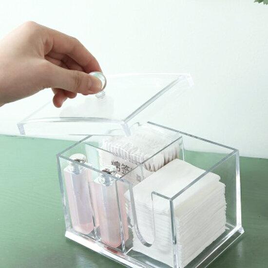 ♚MYCOLOR♚無印風格系列-透明帶蓋收納盒壓克力桌面整理盒卸妝棉牙籤【P278】