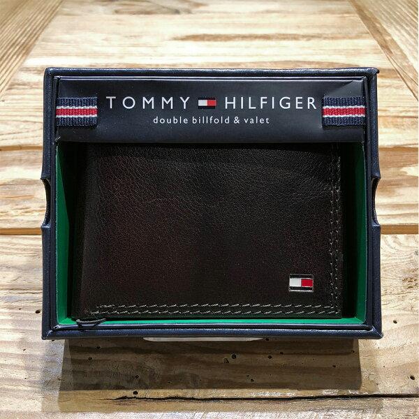 美國百分百【全新真品】TommyHilfiger真皮皮夾皮包卡片TH短夾錢包卡夾咖啡色J040