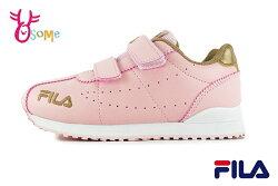 FILA 中大童 運動鞋 休閒簡約 機能鞋 輕量慢跑鞋 O7689#粉金◆OSOME奧森鞋業