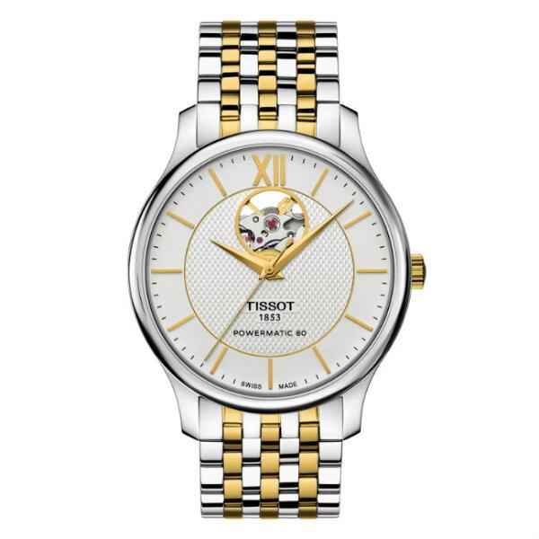 TISSOT天梭表T0639072203800TRADITIONPOWERMATIC80鏤空80小時動力儲存腕錶白面40mm