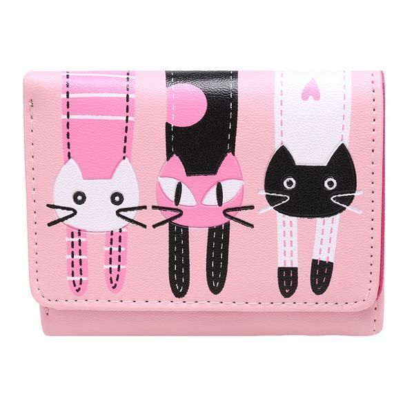 Cartoon Lovely Cat Pattern Trifold Wallet Short Coin Purse Card Holder 1