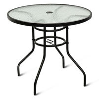 Costway 32'' Patio Round Table Tempered Glass Steel Frame Outdoor Pool Yard Garden