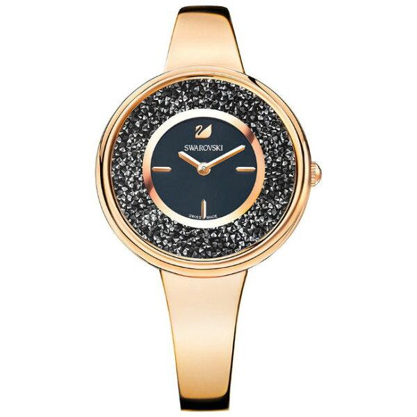 Swarovski施華洛世奇CrystallinePure玫瑰金時尚腕錶5295334黑面34mm