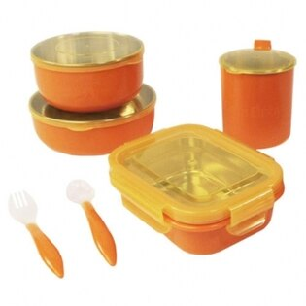 【淘氣寶寶】美國Onbibaby歐比寶貝不繡鋼餐具4件組橘色【保證原廠公司貨】