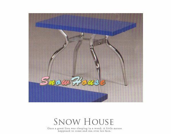 ╭☆雪之屋居家生活館☆╯A386-08 電鍍腳歐風小茶几/餐桌/茶桌/咖啡桌/置物桌**藍色面