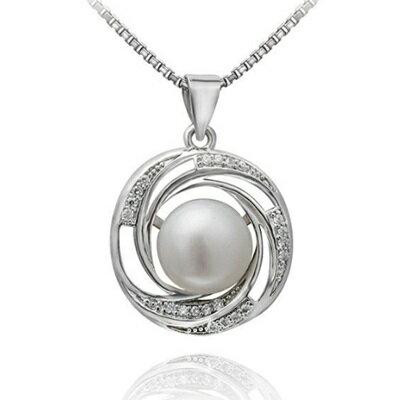 925純銀項鍊 珍珠吊墜~古典優雅鑲鑽精美七夕情人節 女飾品73dh34~ ~~米蘭 ~