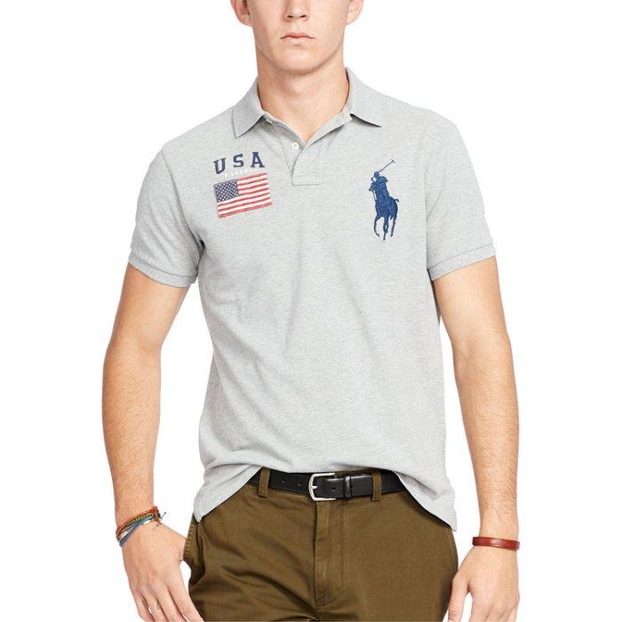 美國百分百【全新真品】Ralph Lauren Polo衫 RL 短袖 上衣 Polo 大馬 國旗 灰色 C255