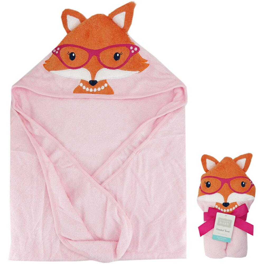 美國  luvable friends  100% 純棉嬰幼兒動物造型連帽浴巾/包巾_微笑狐狸  (LF57087)