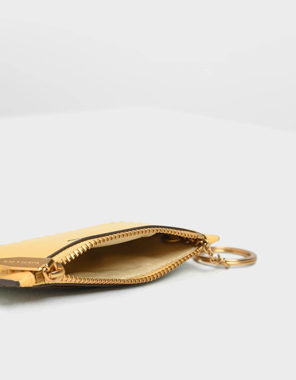 【直飛現貨 正品保證】小CK 壓紋滾邊卡夾 錢包(黃色) CK6-50770360 皮夾 皮包 名片夾