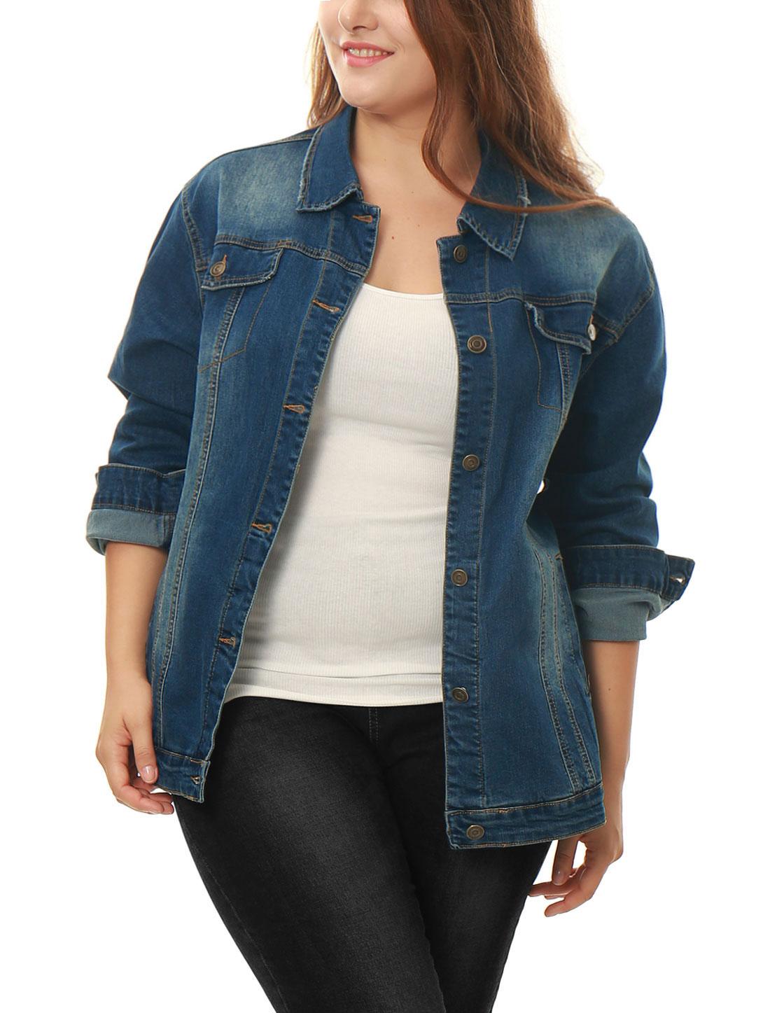 e9ad0b9edd Unique Bargains Women s Plus Size Stitching Button Front Washed Denim Jacket  Blue (Size 2X)