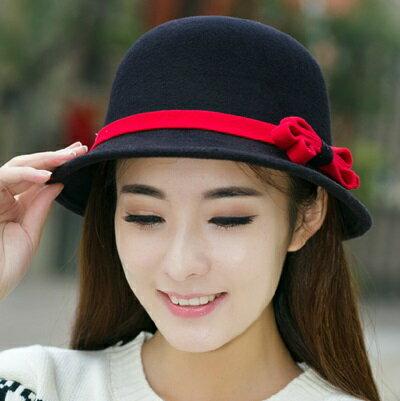☆漁夫帽 毛呢帽-英倫復古優雅蝴蝶結女帽子5色72b8【獨家進口】【米蘭精品】 1