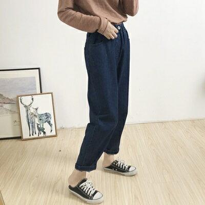 牛仔褲直筒長褲-簡約百搭舒適鬆緊腰女褲子2色73tq2【獨家進口】【米蘭精品】 1