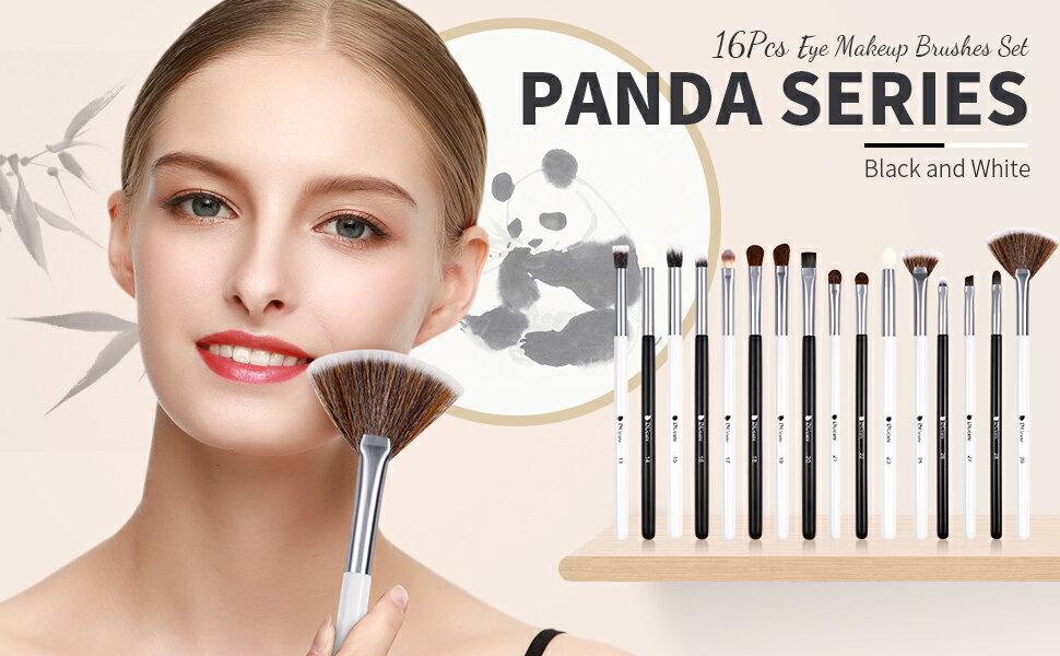 DUcare-DF1654/眼影刷套裝專業眼影刷16Pcs熊貓眼部化妝刷眼影遮瑕膏眉毛睫毛眼線筆與高級木柄混合化妝刷