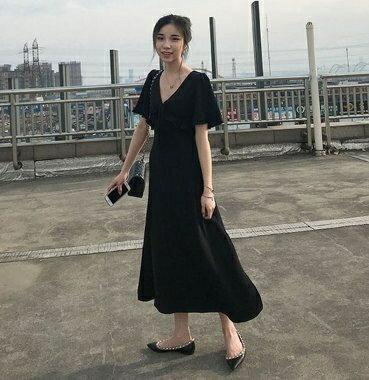 「樂天優選」雪紡洋裝海邊風連身裙子中大尺碼L-4XL修身顯瘦遮肉雪紡連衣裙R10.8553.