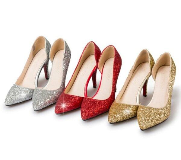 Pyf♥歐美亮片側中空性感尖頭淺口高跟鞋細跟禮服婚鞋伴娘鞋43大尺碼女鞋
