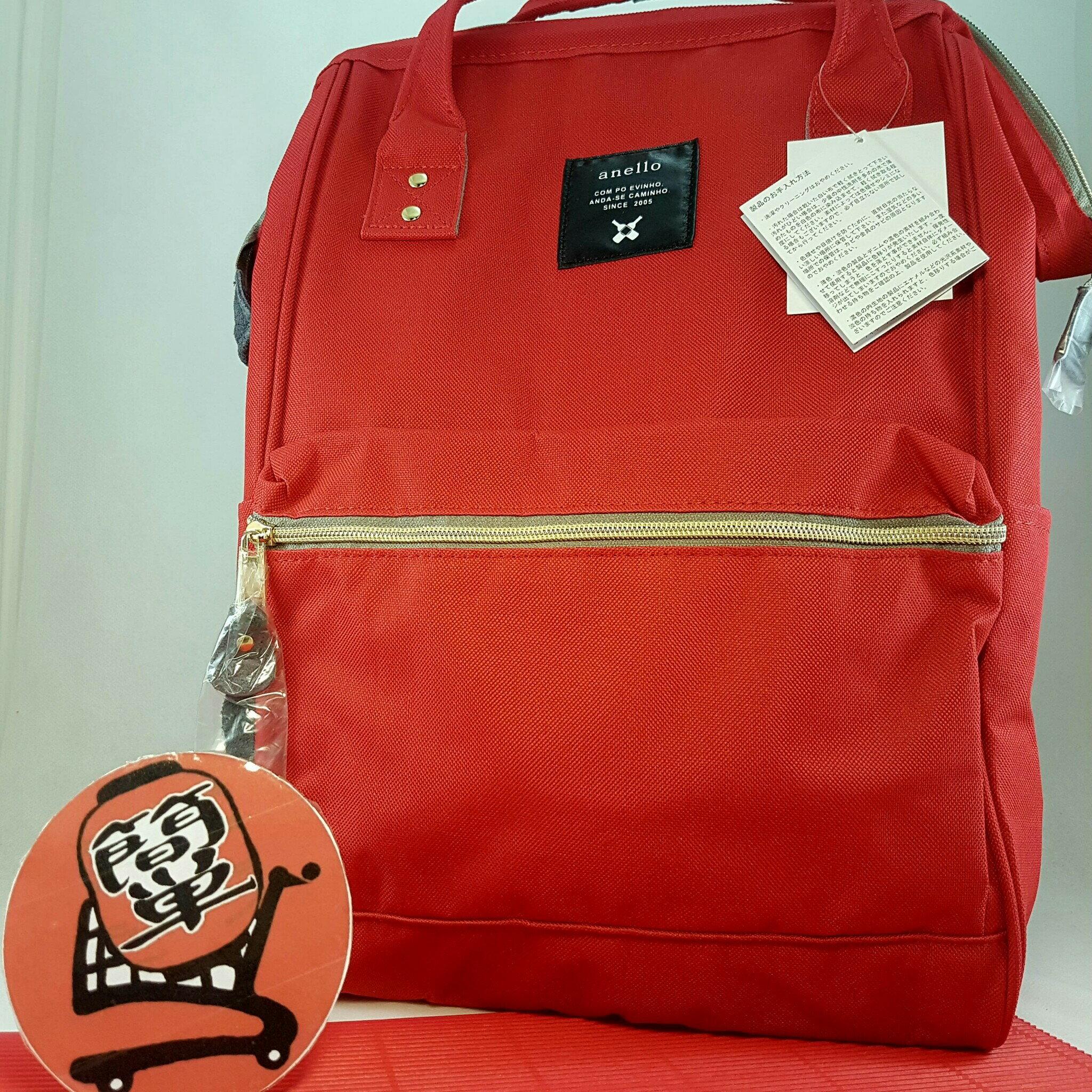 『簡?全球購』大尺寸款 RED大紅 anello 新款 皮質大開口後背包 皮製2WAY手提包超便利寬口包