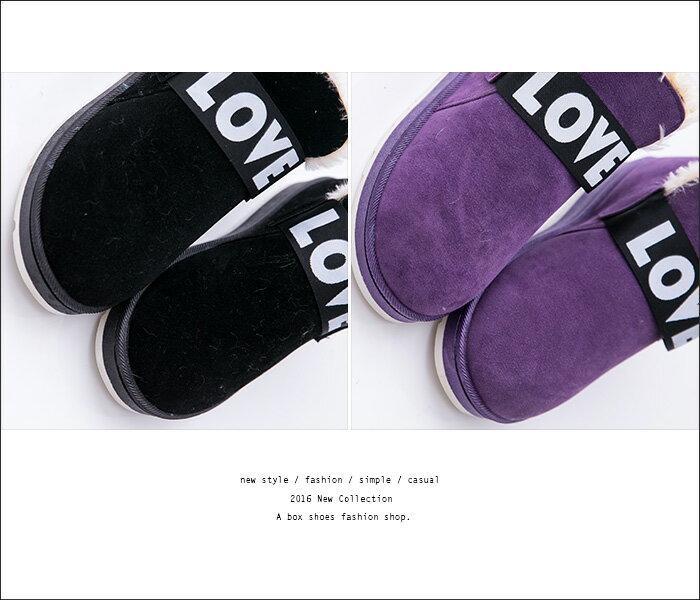 格子舖*【KR801】簡約LOVE英文字母 素面麂皮保暖厚毛料 防滑膠底短筒雪靴 雪地靴 3色 1