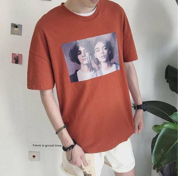 FINDSENSE服飾:FINDSENSEMD日系時尚潮男休閒寬鬆歐美男女情侶頭像印花短袖T恤圖案T特色短T