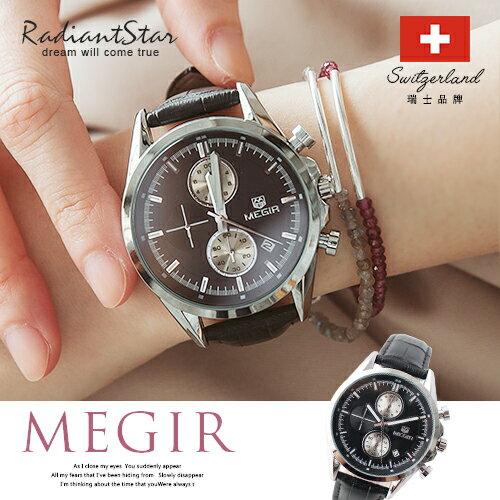 瑞士MEGIR夕暉碧語日期顯示真三眼紋路真皮手錶【WME5005】璀璨之星☆