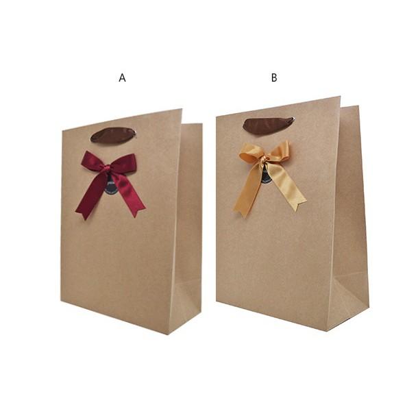 力韋 緞帶牛皮紙手提袋 素面牛皮正方手提袋 牛皮紙袋 禮盒袋 購物袋 外賣袋 手提袋 蛋糕袋 包裝袋 [台灣製]