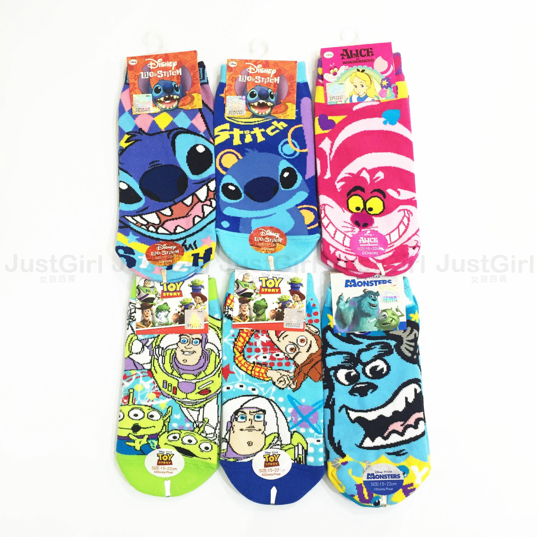 迪士尼 襪子 兒童 15~22cm 史迪奇胡迪巴斯毛怪愛麗絲 船型襪 短襪 39元 居家 正版日本授權 JustGirl
