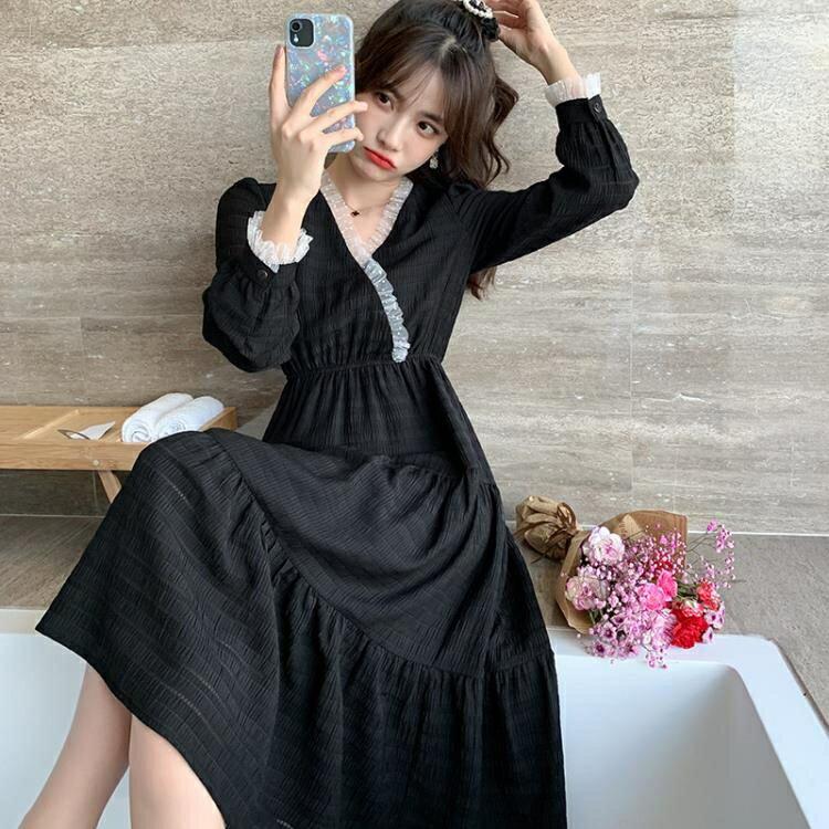 長袖洋裝 黑色連衣裙早秋裝年新款女收腰顯瘦氣質法式復古赫本風小黑裙