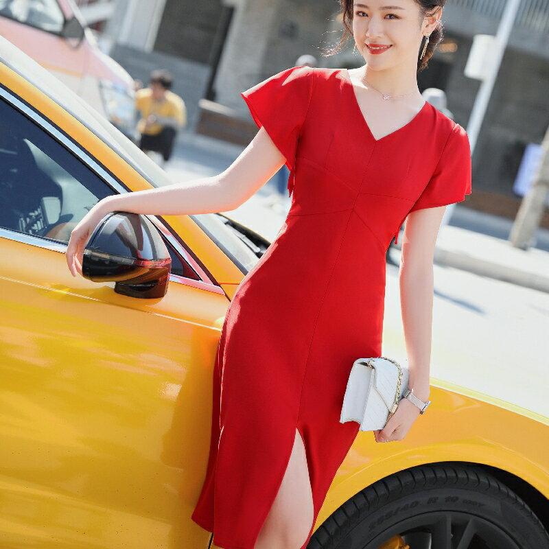 OL必備 全家免運  度假風  時尚中長款時尚側開衩歐美風洋裝   三色可選