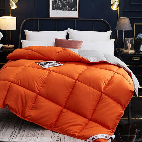 冬天保暖被 單人/雙人 白鵝羽絨被【亮橘色】極致柔軟/床包  J HOME+就是家 樂天2020