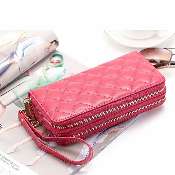 BOBI:長夾菱格紋雙層拉鍊錢包卡包手拿包長夾【CL8343】BOBI0104
