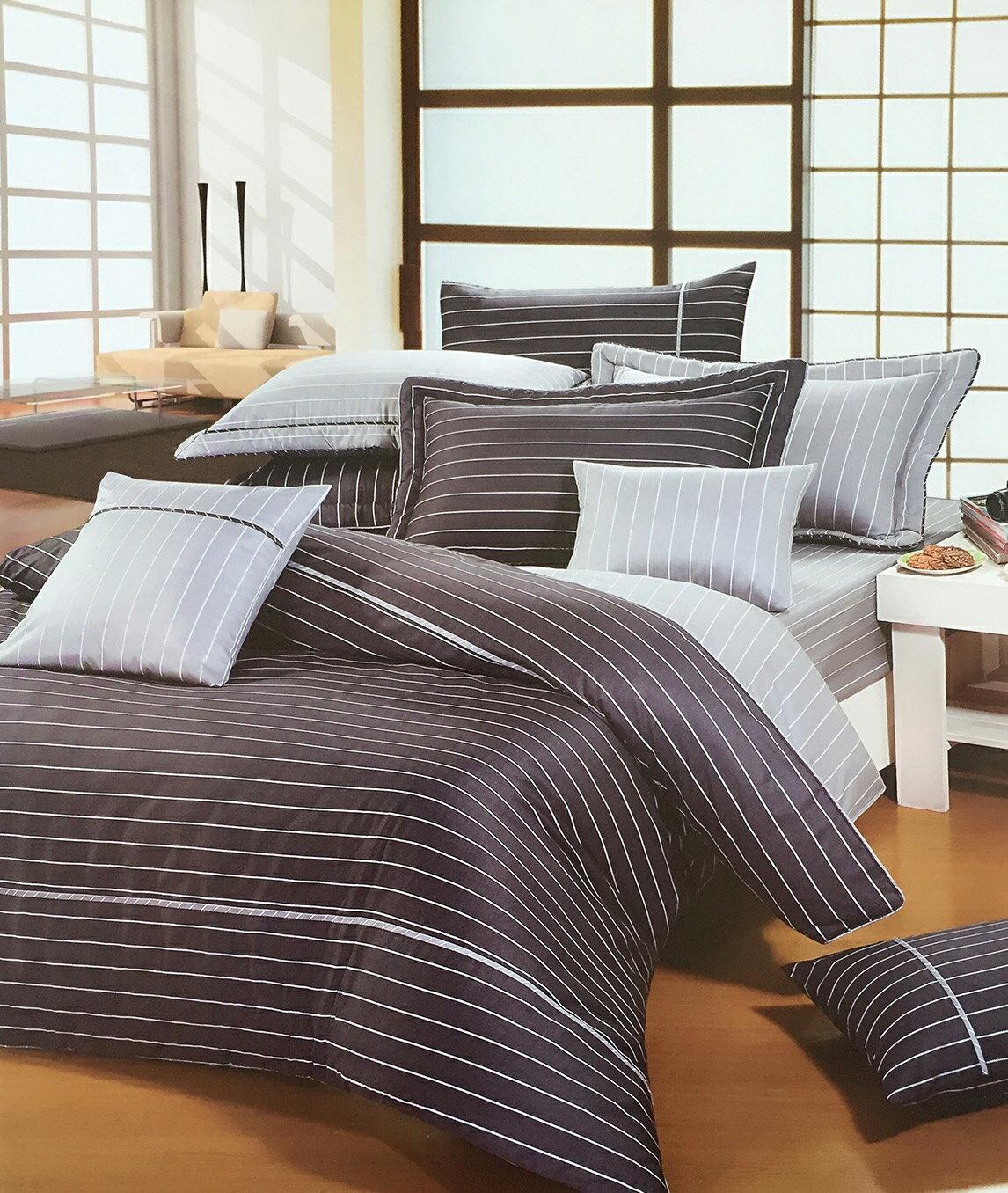 米粒爸爸@黑色線條純棉雙人床罩六件組 台灣製