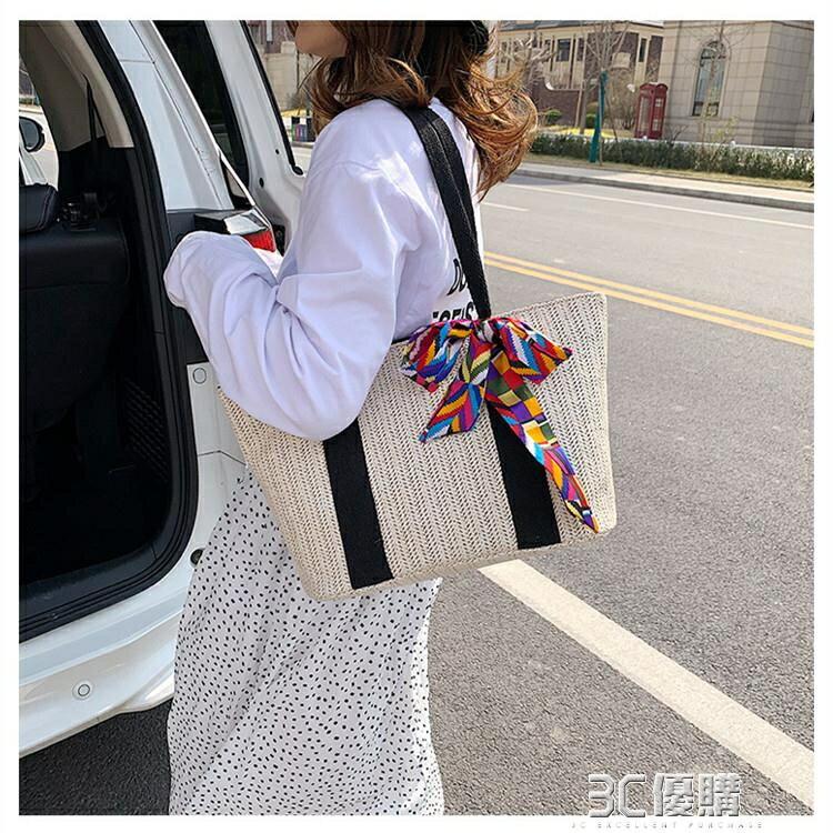 女包包2020春季新款日本草編包度假沙灘包大容量手提單肩側背包25