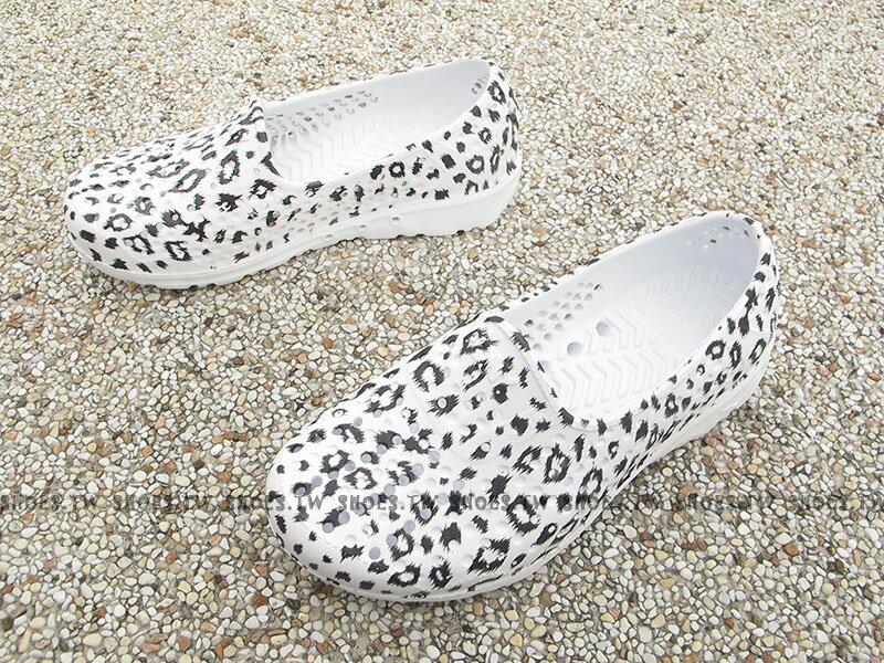 《下殺5折》Shoestw【62K1SA65RW】PONY TROPIC 水鞋 童鞋 軟Q 防水 洞洞鞋 白豹紋 親子鞋 1