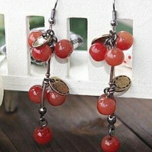 美麗大街【GE0262】 歐美外貿飾品 甜美小櫻桃俏麗迷人耳環耳飾