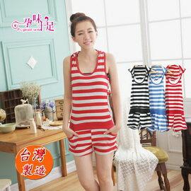 *孕味十足。孕婦裝* 【GI5163】台灣製。夏日露背連帽無袖孕婦連身褲 3色