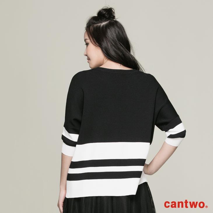 cantwo雙色都會五分袖針織上衣(共三色) 3