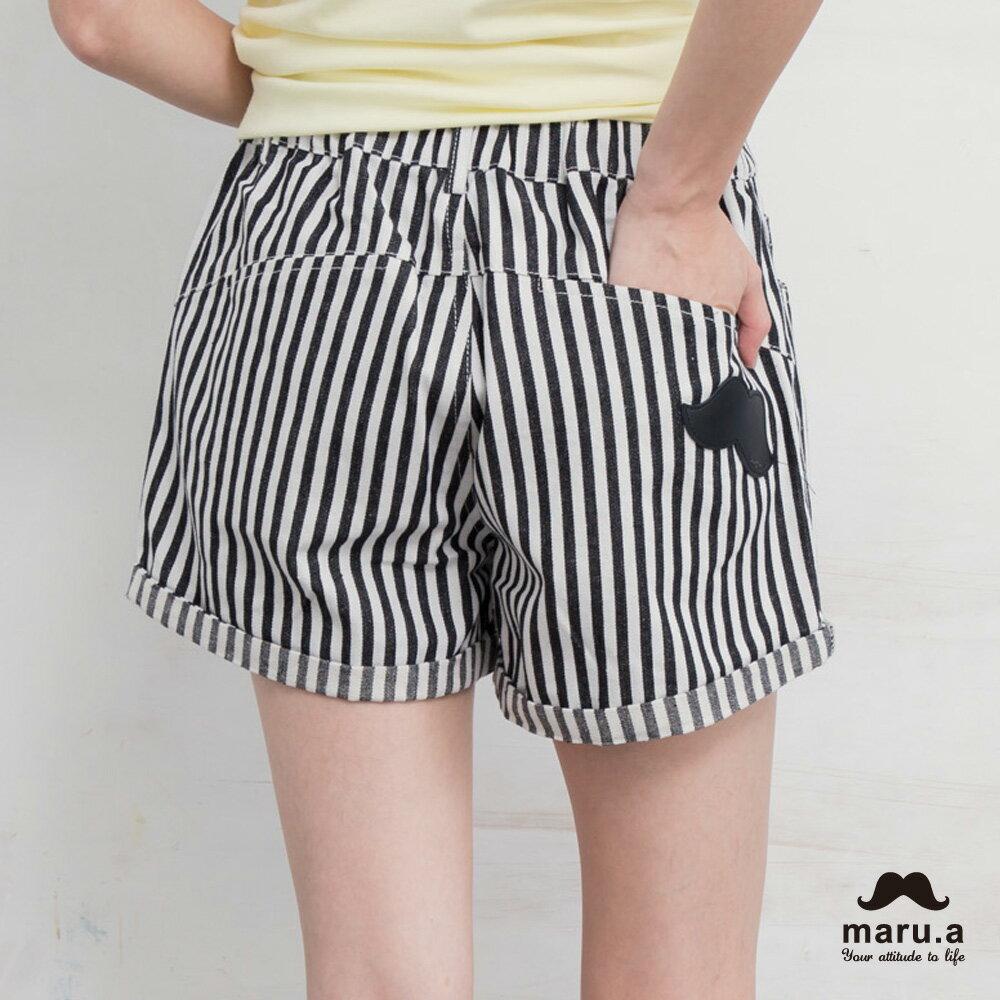 【maru.a】彩色方塊刺繡直條紋短褲(2色)7925112 2