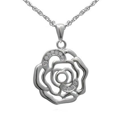925純銀項鍊 鑲鑽吊墜~唯美精緻玫瑰花型母親節情人節生日 女飾品73dk248~ ~~米