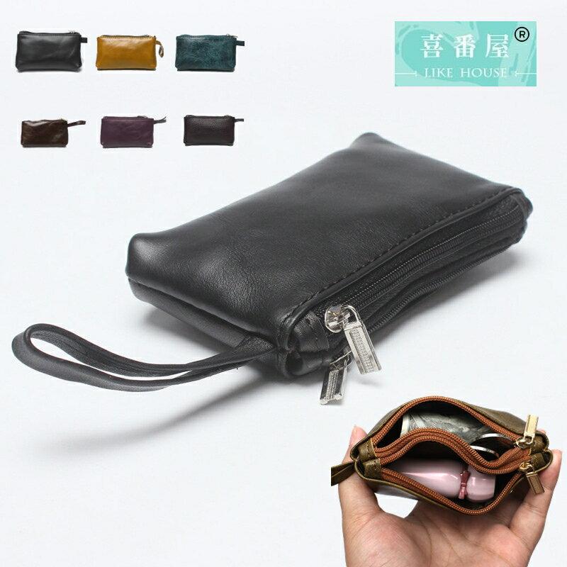 【喜番屋】真皮頭層牛皮輕薄男女通用皮夾皮包錢夾零錢包硬幣包卡片包卡片夾小錢包男夾女夾【LH555】