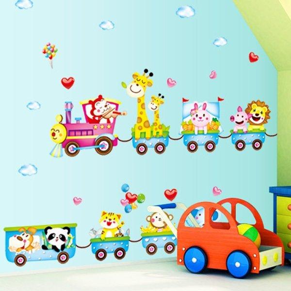 BO雜貨【YV0636】DIY時尚裝飾組合可移動壁貼 牆貼 壁貼 創意壁貼 卡通動物火車MJ7001