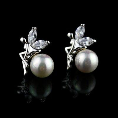 ~925純銀耳環鑲鑽耳飾~典雅迷人天使 生日情人節 女飾品2色73hz8~ ~~米蘭 ~