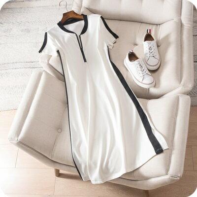 連身裙短袖連衣裙-側邊撞色條紋純棉女上衣2色73sz15【獨家進口】【米蘭精品】