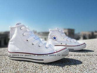 Shoestw【3J253C】CONVERSE 童鞋 帆布鞋 高筒 白色 中童鞋 ALL STAR