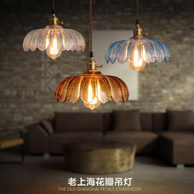 【威森家居】老上海 玻璃花瓣吊燈 北歐後現代大器簡約創意設計師咖啡廳臥室工業風美式歐式壁燈立燈吸頂燈檯燈 L170117